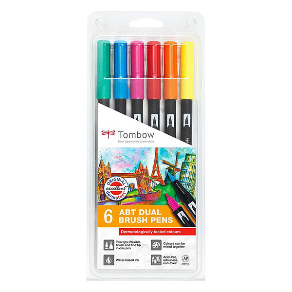 Tombow-ABT-Dual-Brush-Pen-6-Set-Dermatologically-Tested-Colours