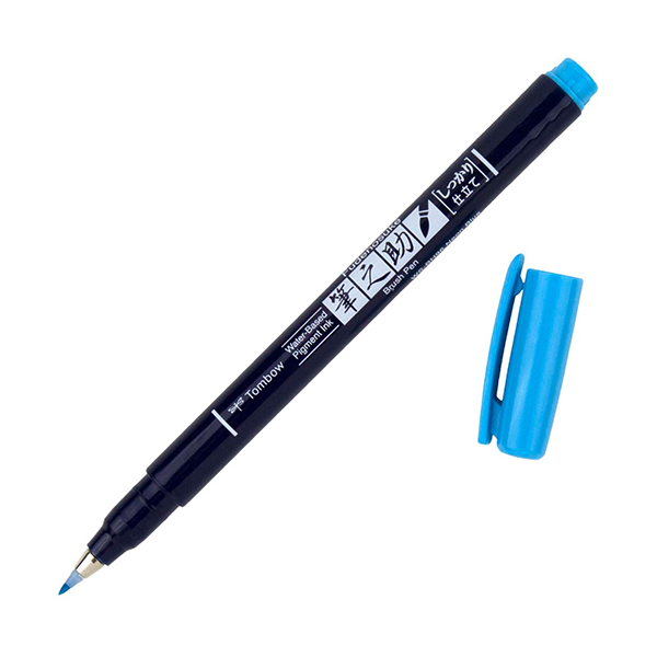 Tombow-Fudenosuke-Hard-Tip-Neon-Blue-96-Brush-Pen