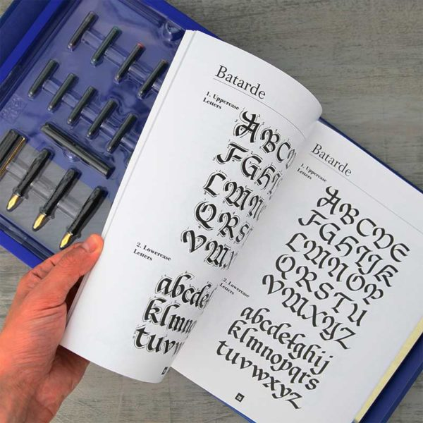 Walter-Foster-Calligraphy_Kit-And-Book-Opening