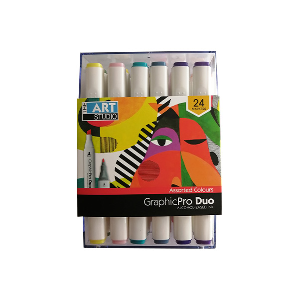 The-Art-Studio-Graphic-ProDuo-Marker-Set-of-24-Assorted-Colours-in-packaging