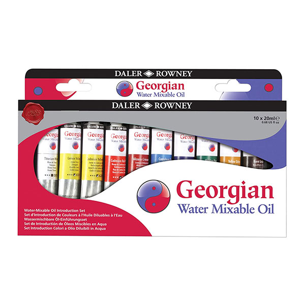 Daler-Rowney-Georgian-Water-Mixable-Oil-Introduction-Set-10x20ml-Tubes